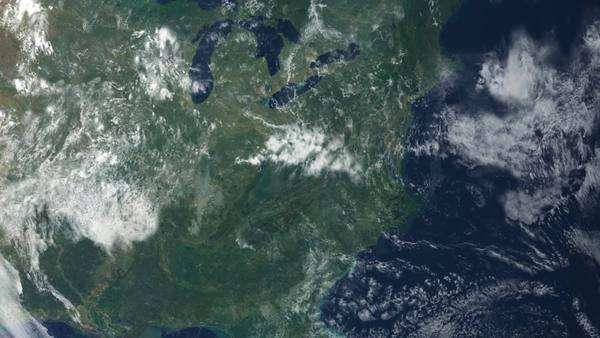 Satellite View Of North America As Daylight Spreads Across The - World map satellite view video