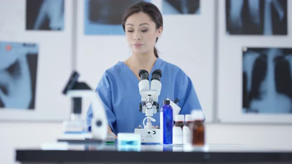 Portrait of medical researcher working in the lab Royalty-free stock video
