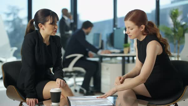 Portrait of of attractive smiling businesswomen in office Royalty-free stock video