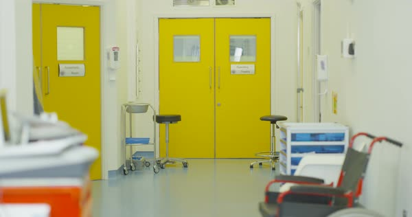 Interior View Of Empty Hallway Area In Modern Hospital No People Royalty Free