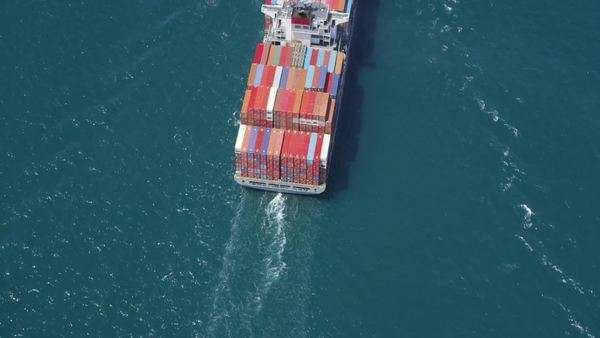 Aerial shot of container ship in at sea near Los Angeles container shipping Port Royalty-free stock video