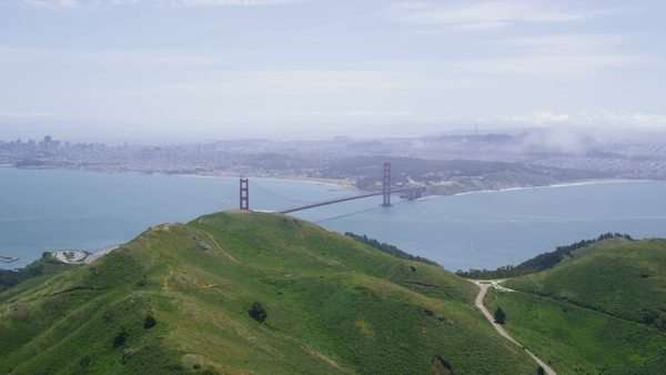 Helicopter aerial view of San Francisco City Golden Gate Bridge  in west coast California from Sausalito. Royalty-free stock video