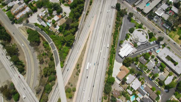 Aerial view of California road highway, freeway. Los Angeles, California State, United States of America. Royalty-free stock video