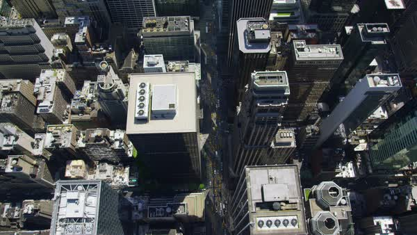 Video aerial view directly above New York City shot from Helicopter. Skyscrapers in lower Manhattan. United States of America. Royalty-free stock video