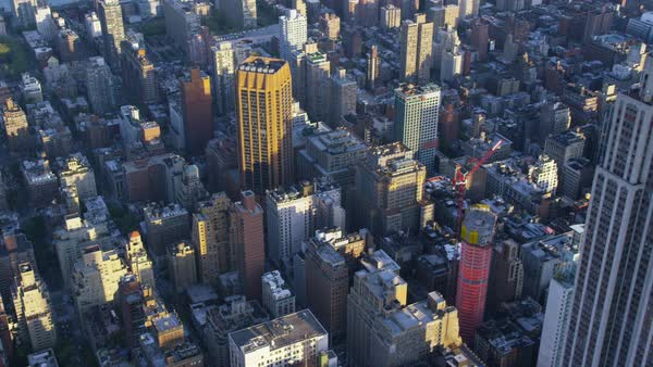 USA Aerial view of Empire State Building in New York City from helicopter flying above Manhattan Royalty-free stock video