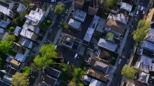 Aerial shot New York City Suburban homes from helicopter. NYC State USA. Royalty-free stock video