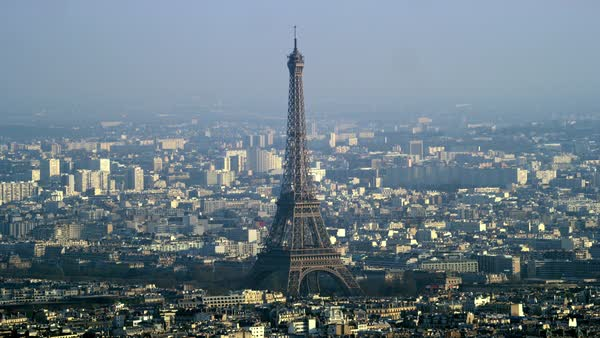 Panoramic aerial view, the Eiffel Tower and buildings and skyscrapers in Paris, France Royalty-free stock video
