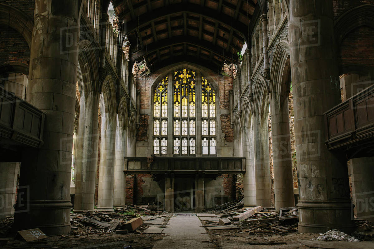 Interior view of abandoned church in Gary, Indiana Royalty-free stock photo