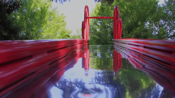 POV of child sliding down a slide backwards Royalty-free stock video