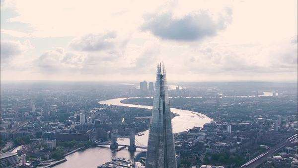Epic aerial view of the city of London looking at the shard and river Thames Royalty-free stock video