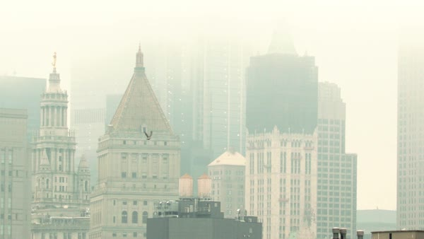 Static shot of a city covered in fog Royalty-free stock video