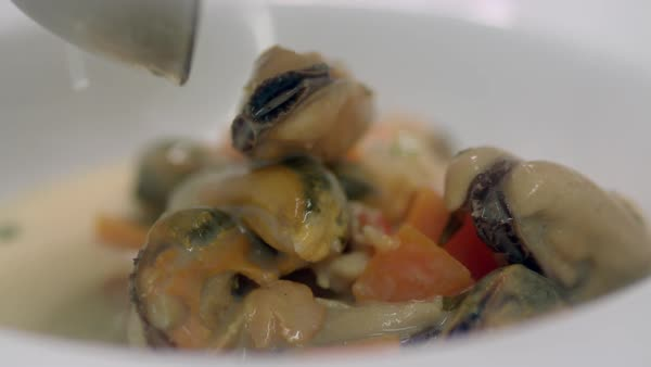 Hand-held shot of a person filling a plate with seafood chowder Royalty-free stock video