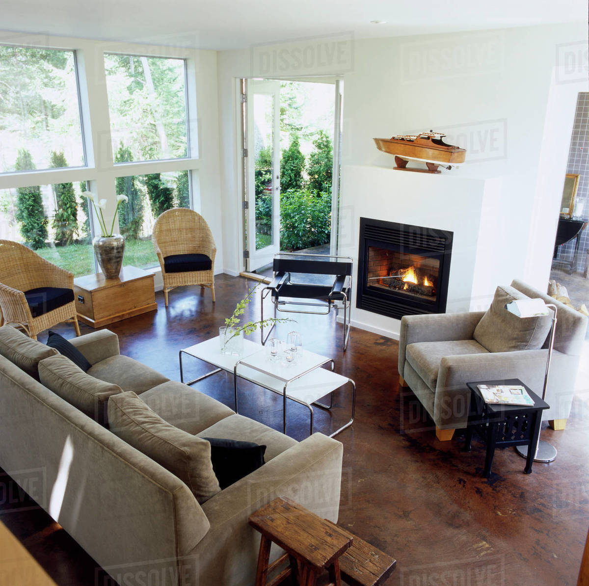 Living Room With Fireplace In Contemporary Home, Victoria ...