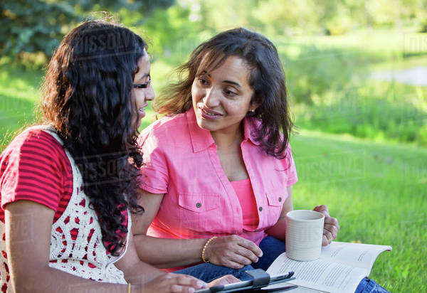 Mother and daughter spending quality time together in park; Edmonton, Alberta, Canada Royalty-free stock photo