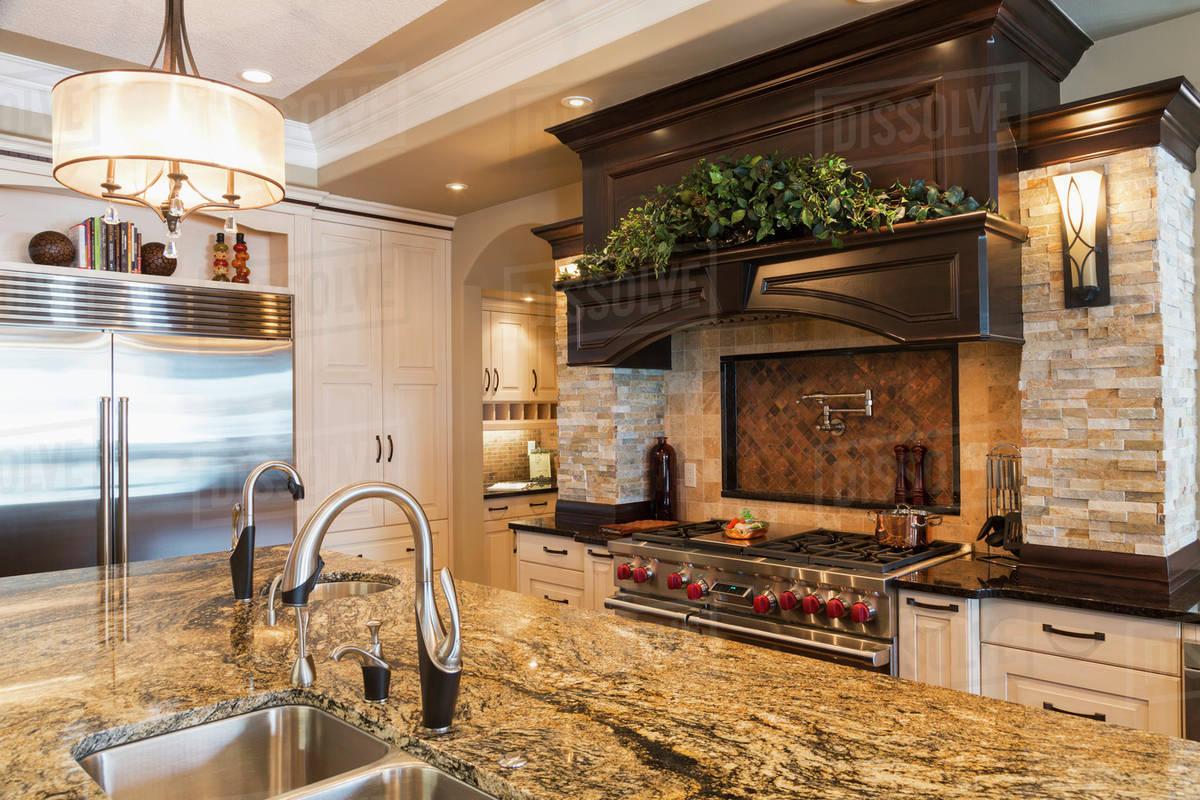 Kitchen In Luxurious Custom Built Estate Home Edmonton Alberta Canada Stock Photo Dissolve
