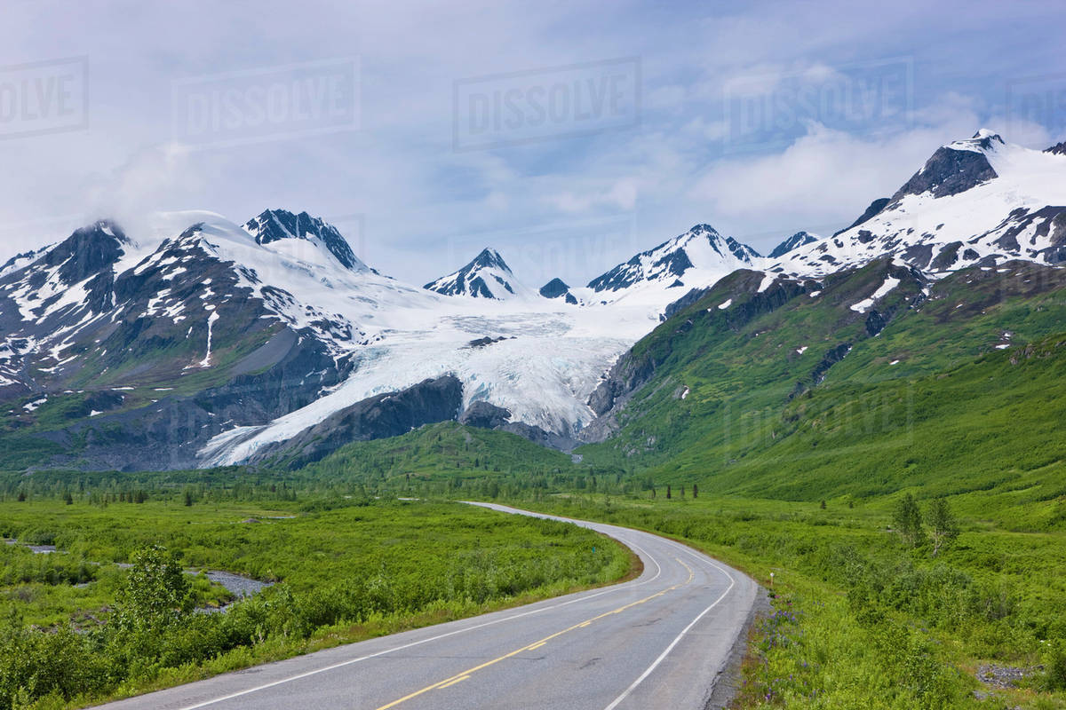 4d769df5e The Richardson Highway And Worthington Glacier, Summer, Chugach National  Forest, Southcentral Alaska stock photo