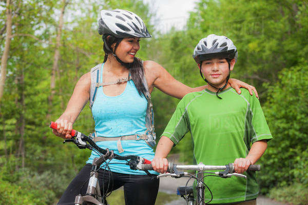Mother And Son Mountain Biking At Eklutna Lake, Chugach State Park, Alaska, Usa Royalty-free stock photo