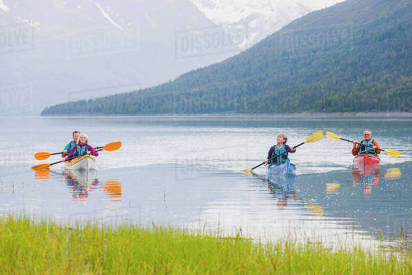 Recreational kayak touring, Eklutna Lake, Chugach State Park; Alaska, United States of America Royalty-free stock photo
