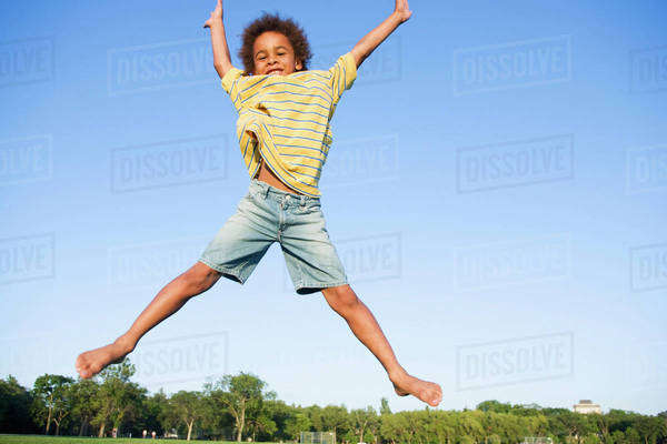 8 Year Old Boy Jumps Very High, Winnipeg, Canada Royalty-free stock photo