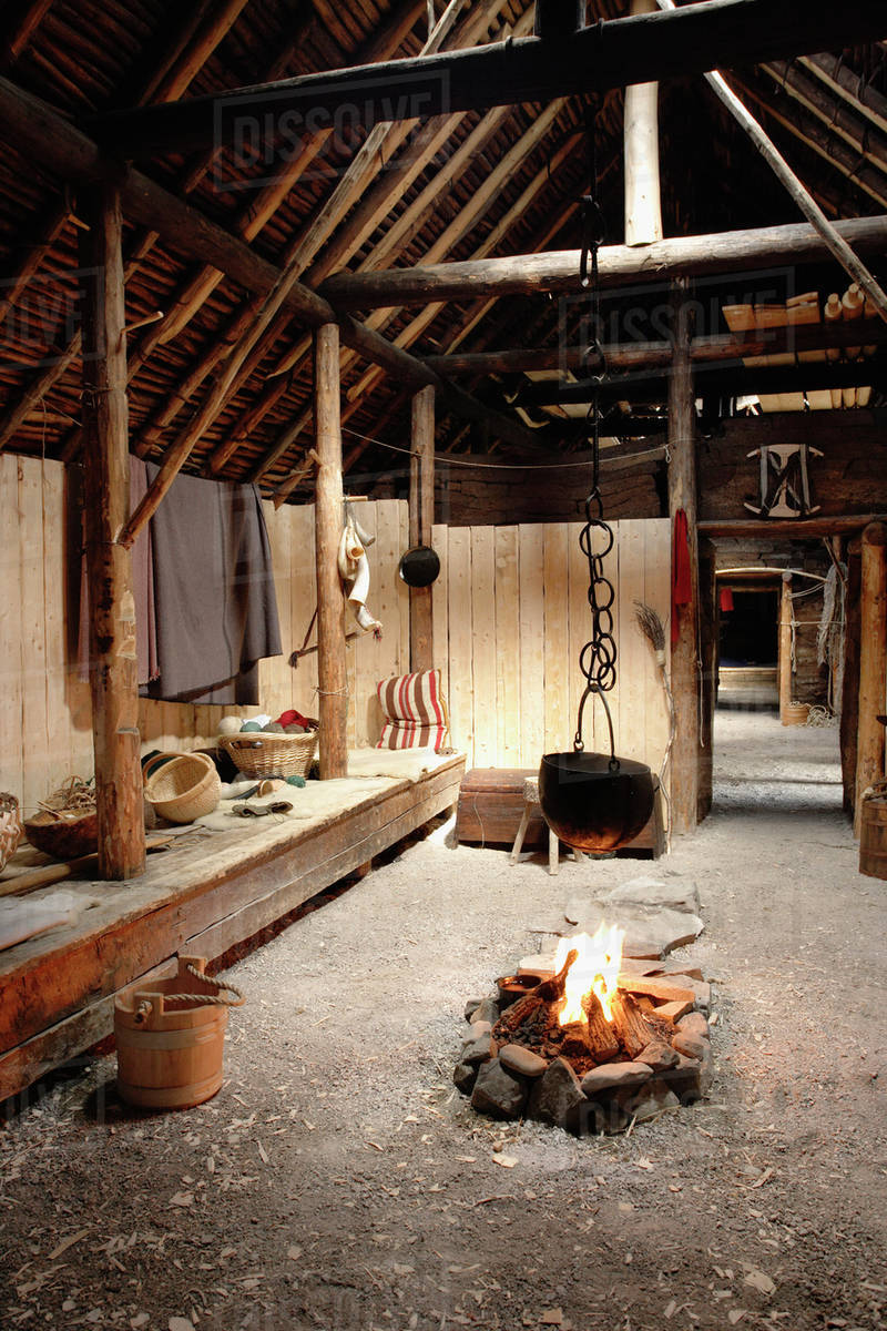 Inside Of Norse Buildings Newfoundland, Canada Royalty-free stock photo
