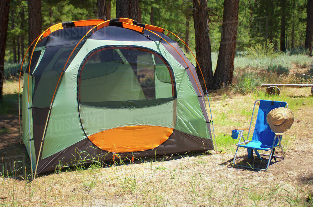 Campsite With Tent And Chair; Sierraville, California, United States of America Royalty-free stock photo