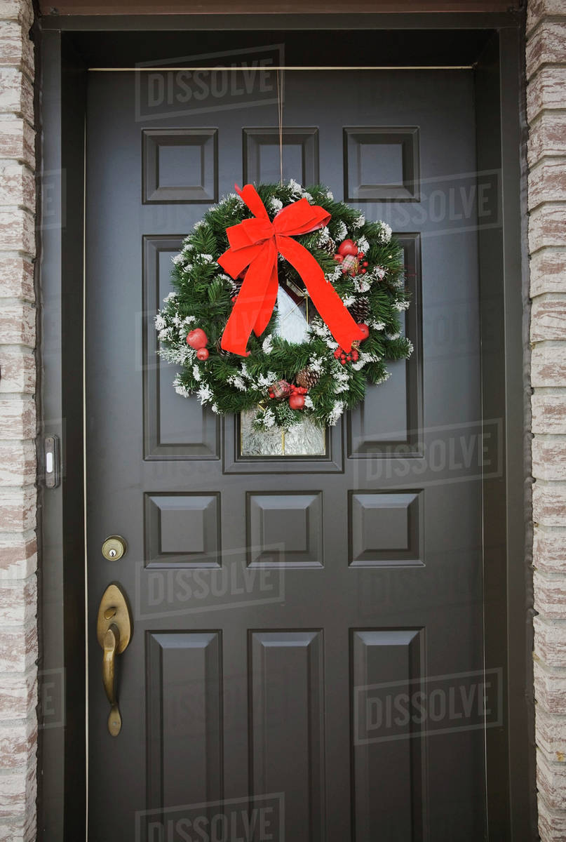 Christmas Wreath On The Front Door Of A Residential Home Quebec