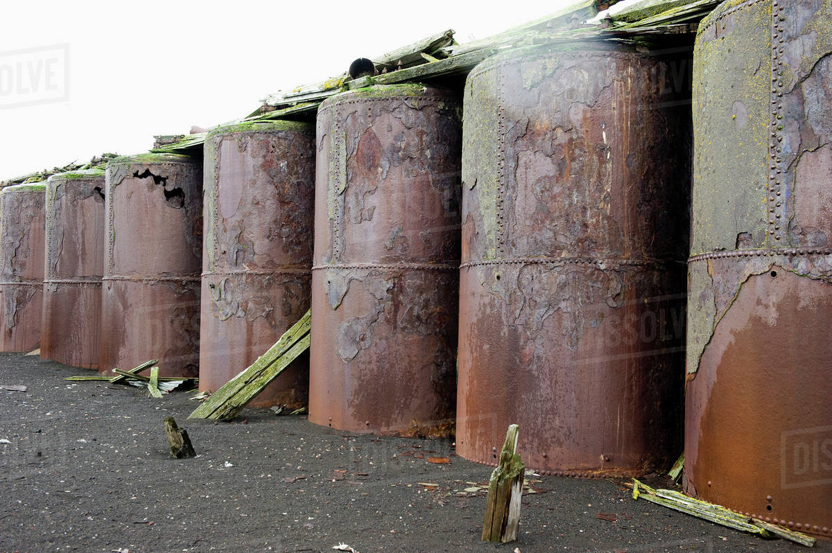 Ordinaire Large Metal Storage Containers In A Row;Whalers Bay Antarctica