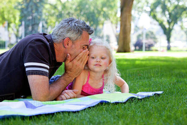 Father And Daughter Spending Quality Time Together In The Park; Edmonton, Alberta, Canada Royalty-free stock photo