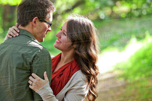 Newlywed Couple Spending Time Together In A Park; Edmonton, Alberta, Canada Royalty-free stock photo