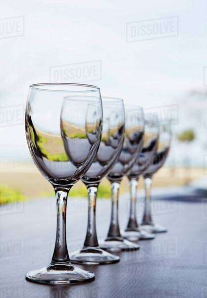 A Row Of Wine Glasses; Gold Coast, Queensland, Australia Royalty-free stock photo