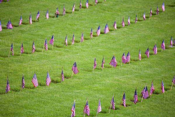 American Flags On Soldiers' Graves Royalty-free stock photo