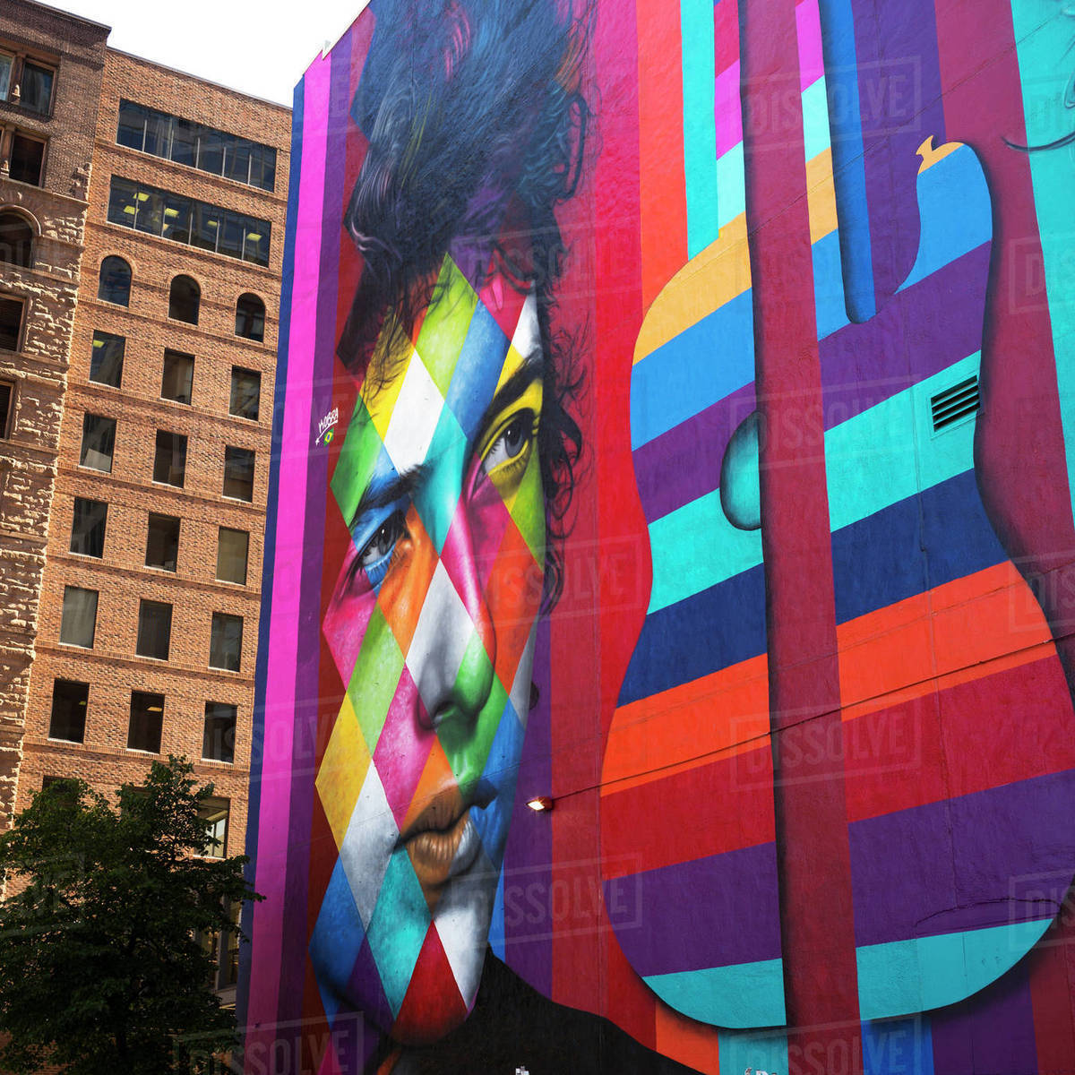 Colourful Mural On The Side Of A Building Depicting A Man S Face And