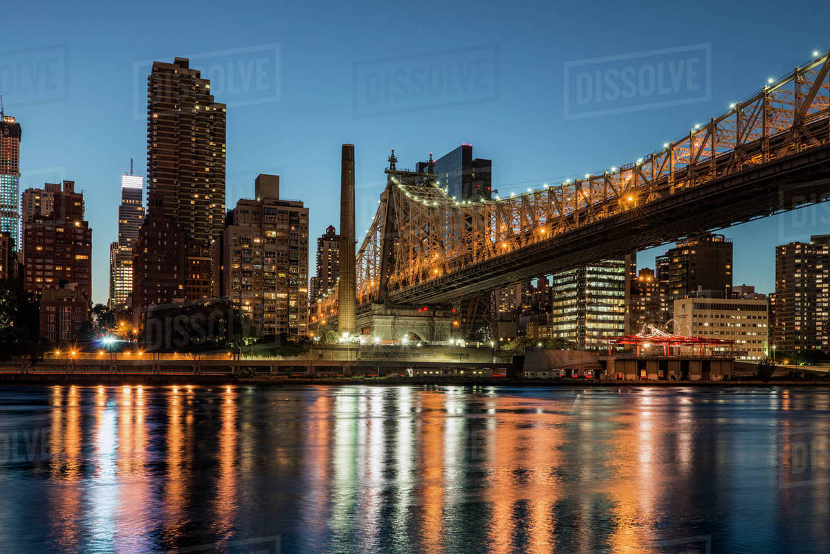 Queensboro Bridge 59th Street And Manhattan Skyline At Sunset New York City United States Of America