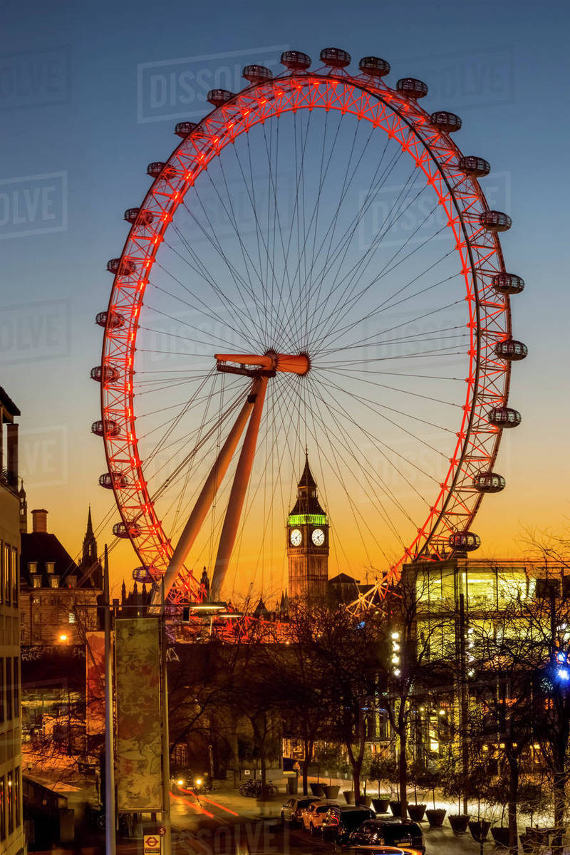 millennium wheel and big ben framed at sunset london england