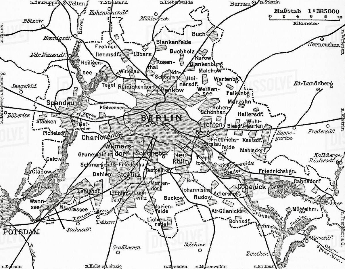 A Map Showing The Municipal Limits Of The City Of Berlin Germany