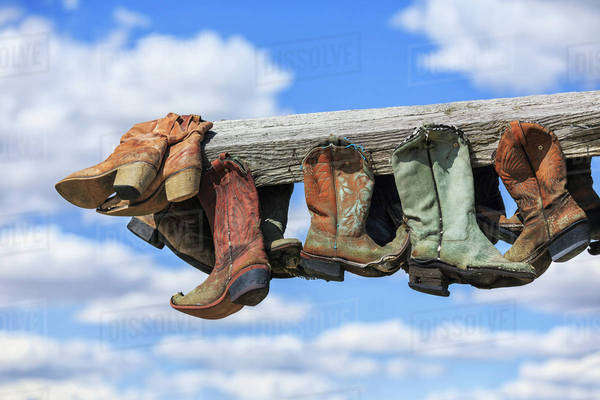 Old cowboy boots hanging in memory of John Booth, Great Sandhills, near Sceptre; Saskatchewan, Canada Royalty-free stock photo