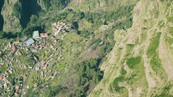 Aerial View Of The Typical Town In Mountains Madeira Portugal - Portugal map mountains