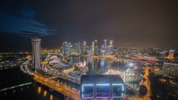 Timelapse of Singapore city skyline aerial view from The Flyer Royalty-free stock video