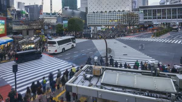 Timelapse of Shibuya Crossing with motion blur of pedestrian and traffic Royalty-free stock video