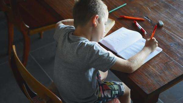 Young boy doing homework after school at home education Royalty-free stock video