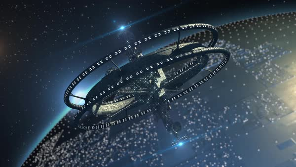 Interstellar spaceship, with triple gravitational rings and a central telecommunication structure, near an alien planet, for futuristic or fantasy backgrounds Royalty-free stock video