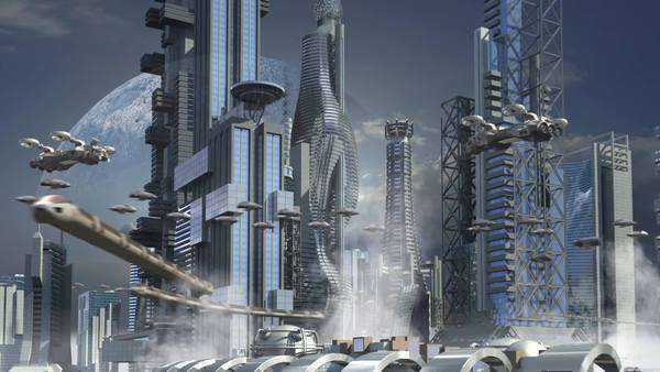 Futuristic cityscape with metallic skyscrapers and hoovering aircrafts for science fiction or fantasy animated backgrounds. Royalty-free stock video
