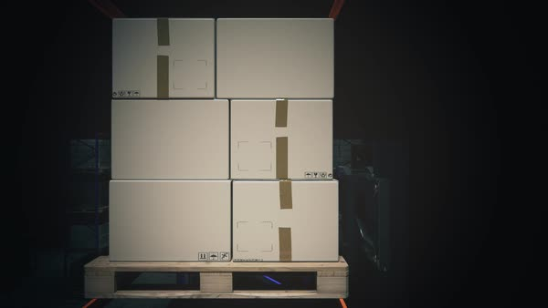 Fork Lift Truck Placing Stack Of Boxes On Shelf Royalty-free stock video