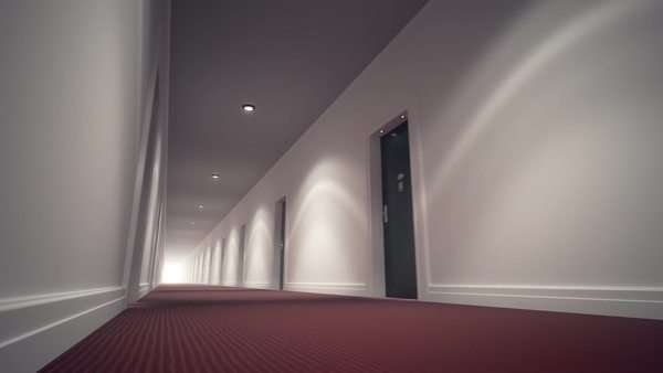 Long Bright Corridor With Bright Lights And Door Royalty-free stock video