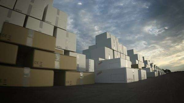 Stacks Of Big White And Brown Cardboard Boxes. Royalty-free stock video