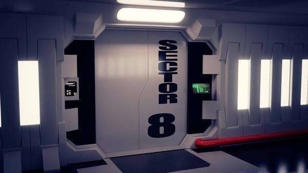 Futuristic Spaceship Door Opening And Camera Slowly Zooming In Royalty-free stock video