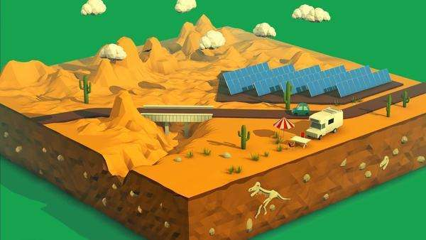 Vehicle travelling over bridge in desert landscape with solar panels at background. Royalty-free stock video