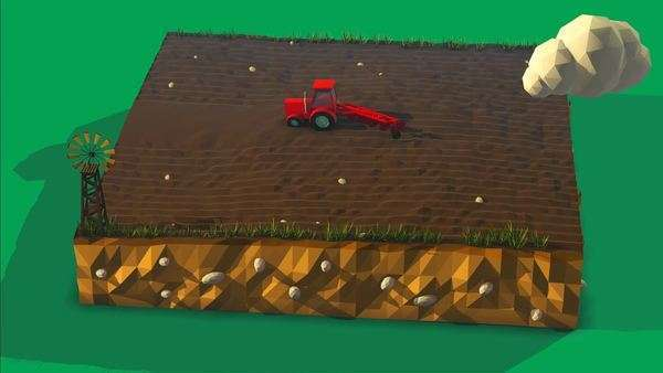 Aerial view of agricultural land vehicles working in field Royalty-free stock video