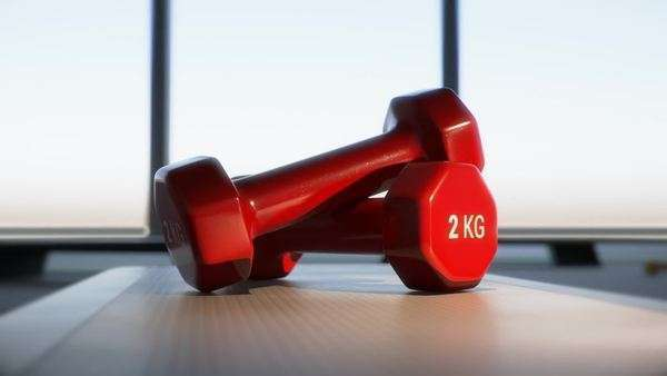 A pair of red dumbbels on fitness step. Royalty-free stock video