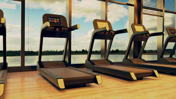 Row of modern treadmills in modern fitness club. Royalty-free stock video